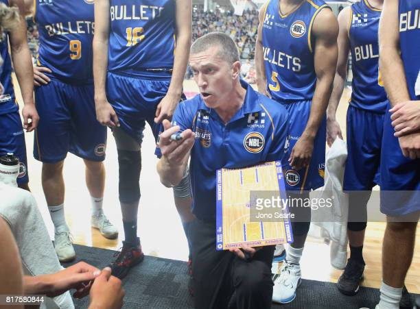Brisbane coach Andrej Lemanis in a huddle during the match between the Brisbane Bullets and China at the Gold Coast Sports Leisure Centre on July 18...