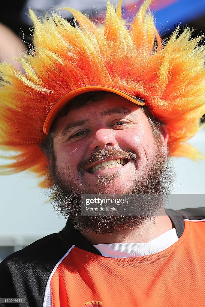 A Brisbane fan enjoys the atmosphere during the round 23 A-League match between Adelaide United and the Brisbane Roar at Hindmarsh Stadium on March 2, 2013 in Adelaide, Australia.