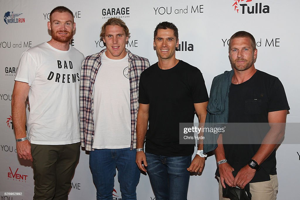 Brisbane Lions arrive ahead of Gold Coast premiere of 'YOU and ME' at Event Cinemas Pacific Fair on April 29, 2016 in Gold Coast, Australia.