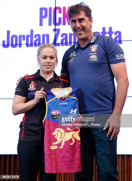Brisbane Lions Coach Craig Starcevich poses for a photo with Jordan Zanchetta during the 2017 NAB AFL Women's Draft at Docklands on October 18 2017...