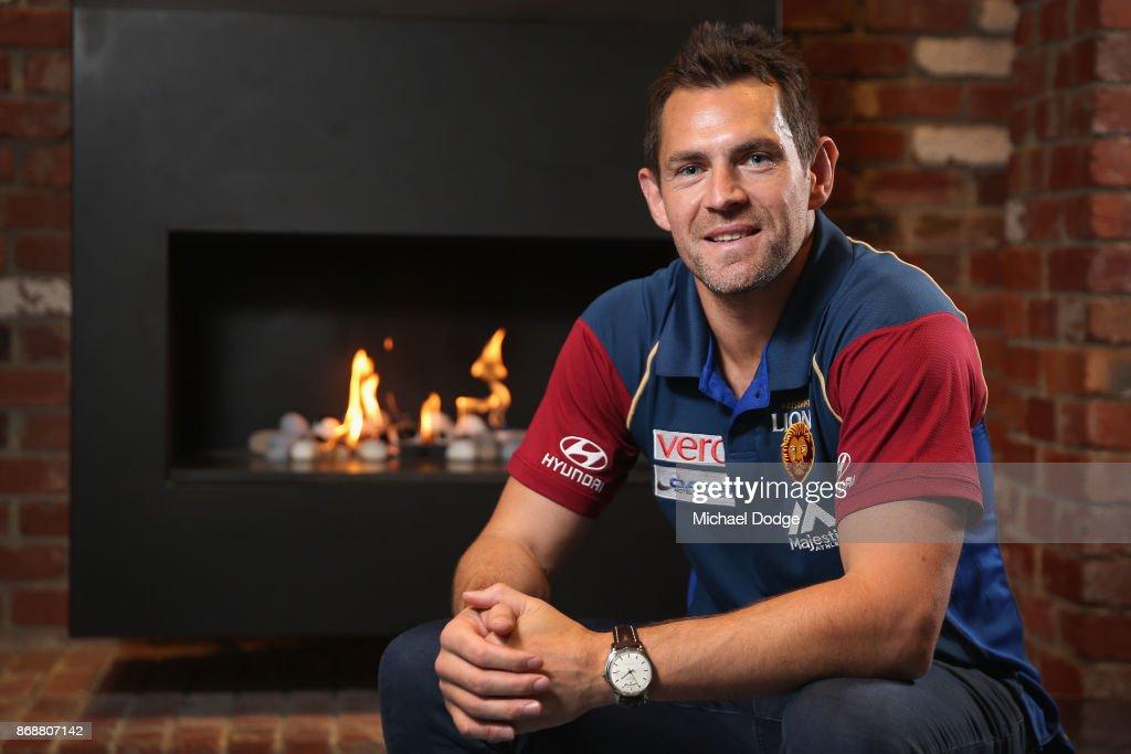 Brisbane Lions recruit Luke Hodge poses during a Brisbane Lions AFL media opportunity at WRAP on Southbank on November 1, 2017 in Melbourne, Australia.