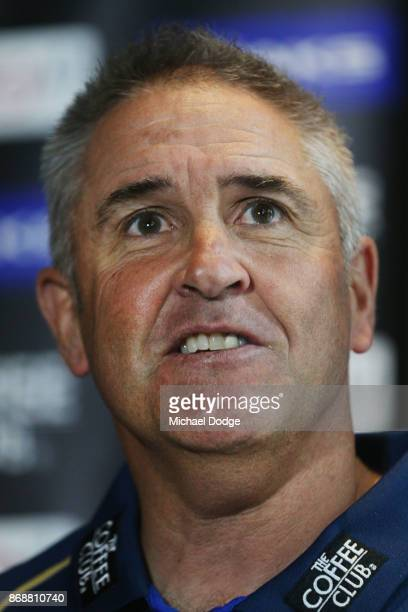 Brisbane Lions Senior Coach Chris Fagan speaks to the media during a Brisbane Lions AFL media opportunity at WRAP on Southbank on November 1 2017 in...