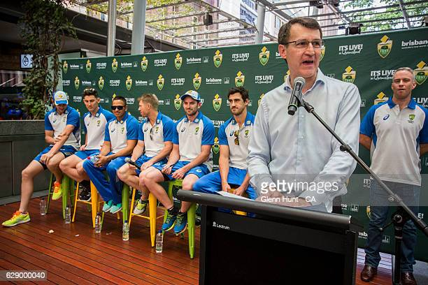 Brisbane Lord Mayor speaking at the Commonwealth Bank Test Series Launch at Queen Street Mall on December 11 2016 in Brisbane Australia