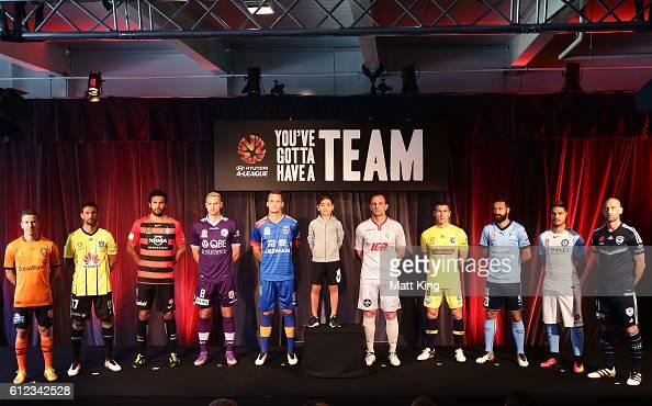 Brisbane Roar captain Matt McKay Vince Lia of Wellington Phoenix Western Sydney Wanderers captain Nikolai ToporStanley Roslyn Griffiths of Perth...