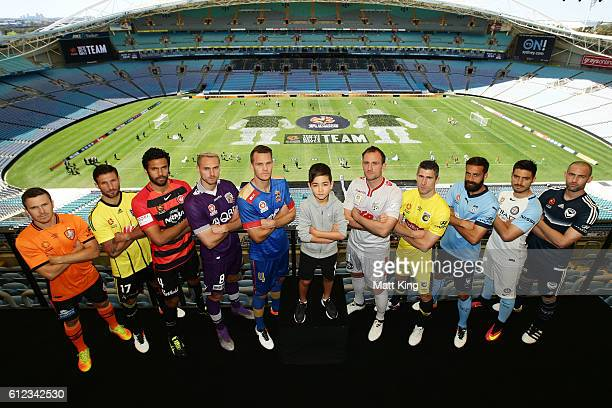 Brisbane Roar captain Matt McKay Vince Lia of Wellington Phoenix Western Sydney Wanderers captain Nikolai ToporStanley Roslyn Griffiths of Perth...