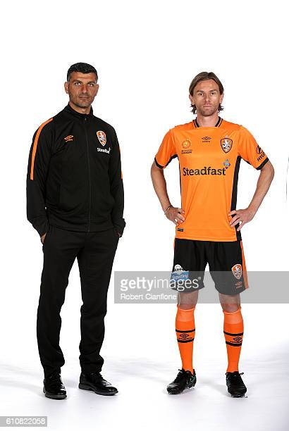 Brisbane Roar FC coach John Aloisi and Brett Holman of the Brisbane Roar FC pose during the 206/17 ALeague media day at AAMI Park on September 28...