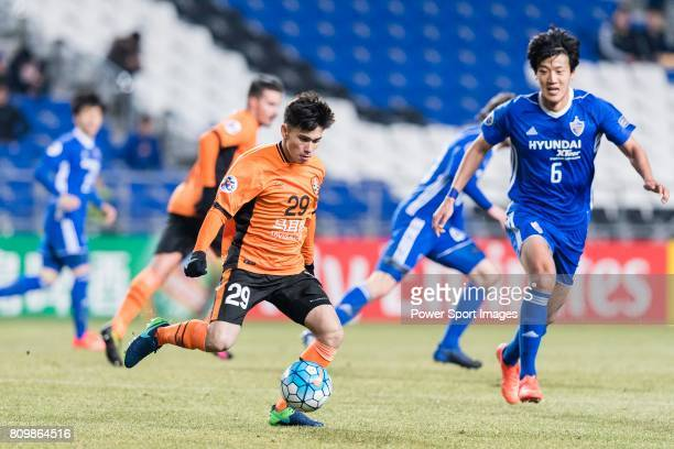 Brisbane Roar Midfielder Joe Caletti in action during the AFC Champions League 2017 Group E match between Ulsan Hyundai FC vs Brisbane Roar at the...