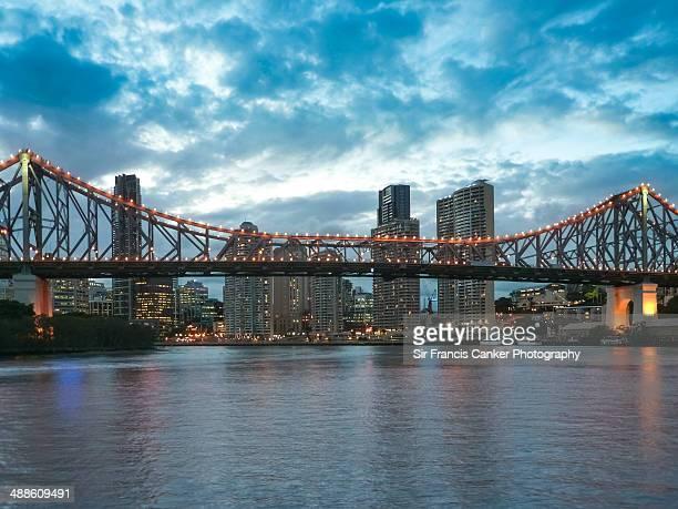 Brisbane Story Bridge illuminated at dusk