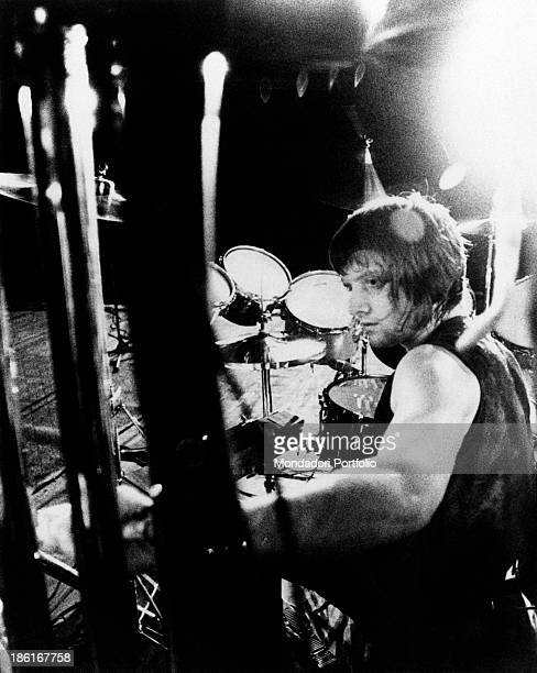 Bristish drummer Carl Palmer member of the progressive rock band Emerson Lake Palmer playing the drums during a concert 1970s