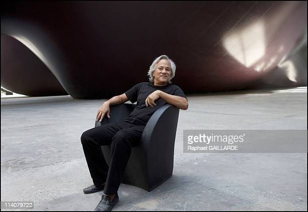 Bristish Sculptor Anish Kapoor poses as he unveils 'Leviathan' at the Grand Palais on May 09 2011 in Paris France
