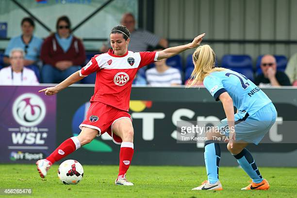 Bristol Academy Women's Corinne Yorston shoots past Manchester City Ladie's Keira Welsh during Bristol Academy Women v Manchester City Women at Stoke...