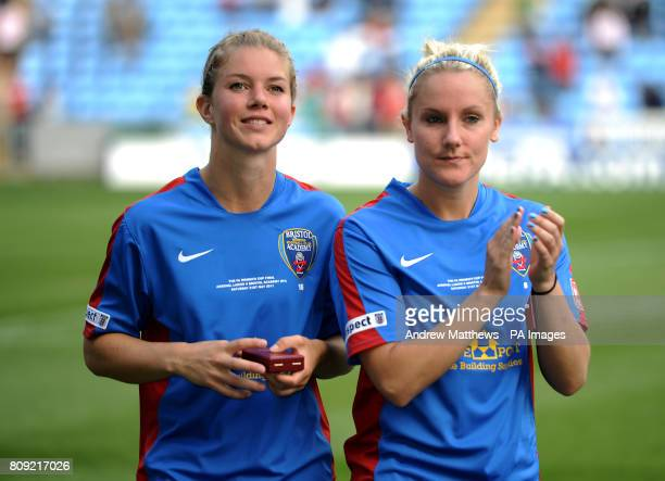 Bristol Academy's Anouk Hoogendijk and Katie Daley after the final whistle during the Womens FA Cup Final at the Ricoh Arena Coventry