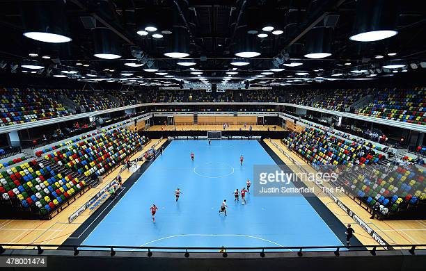 Bristol City and Just A Ball Game in action during the Semi Final of the Futsal Cup at The Copper Box on June 20 2015 in London England