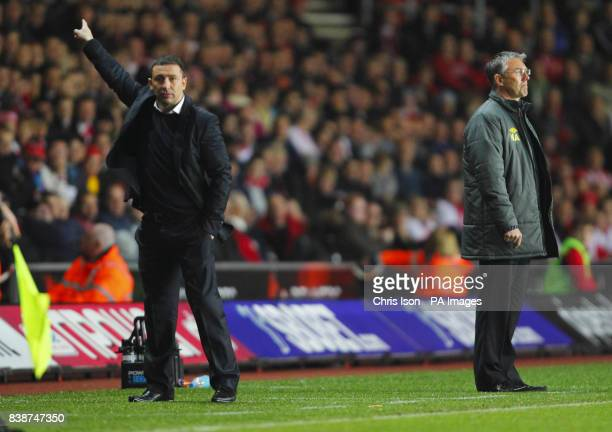 Bristol City FC Manager Derek McInnes and Southampton Manager Nigel Adkins during the npower Football League Championship match at St Mary's...