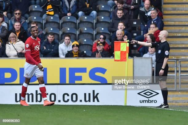 Bristol City forward Jonathan Kodjia has a goal disallowed for offside