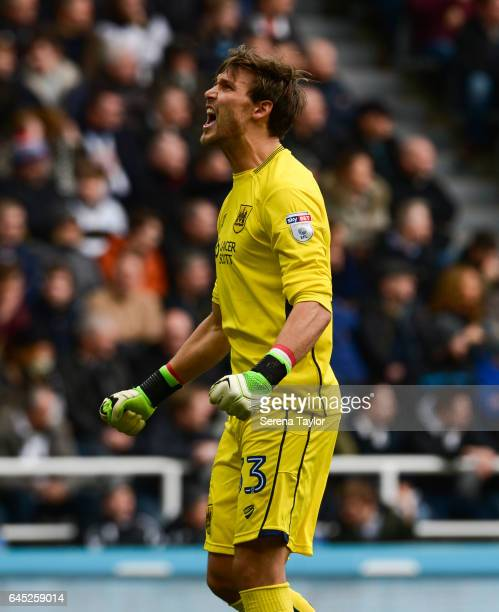 Bristol City Goalkeeper Fabian Giefer celebrates after Bristol City score the opening goal during the Sky Bet Championship Match between Newcastle...