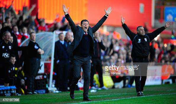 Bristol City manager Steve Cotterill reacts during the Sky Bet League One match between Bristol City and Coventry City at Ashton Gate on April 18...