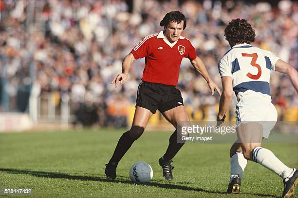 Bristol City player Trevor Tainton in action during a First Division match against Queens Park Rangers at Ashton Gate on October 1 1977 in Bristol...