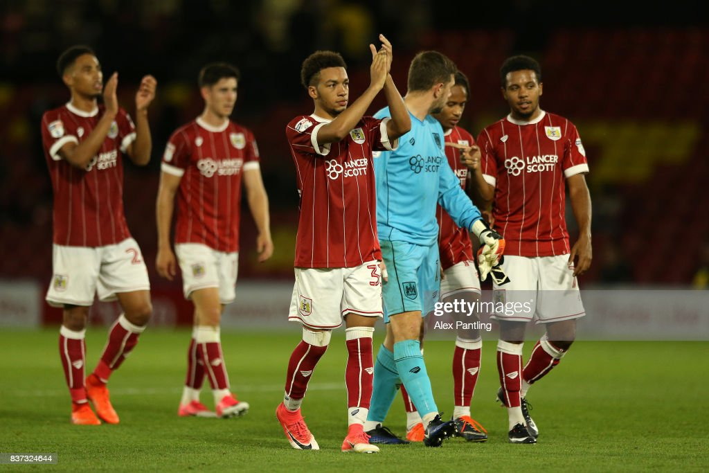 Bristol City players celebrate at the final whistle during the Carabao Cup Second Round match between Watford and Bristol City at Vicarage Road on August 22, 2017 in Watford, England.