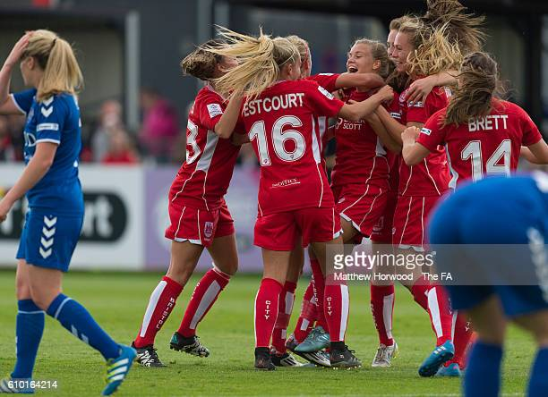 Bristol City Women celebrate a goal by Olivia Fergusson during the Bristol City Women v Durham Women FC FA WSL match at the Stoke Gifford Stadium on...