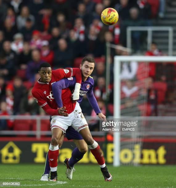 Bristol City's Jonathan Kodjia and Charlton Athletic's Harry Lennon battle for the ball