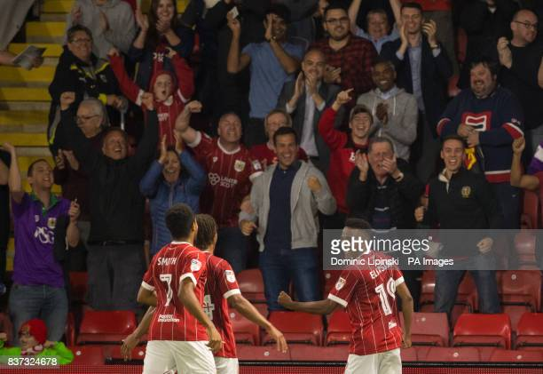 Bristol City's Niclas Eliasson celebrates scoring his side's third goal during the Carabao Cup Second Round match at Vicarage Road Watford