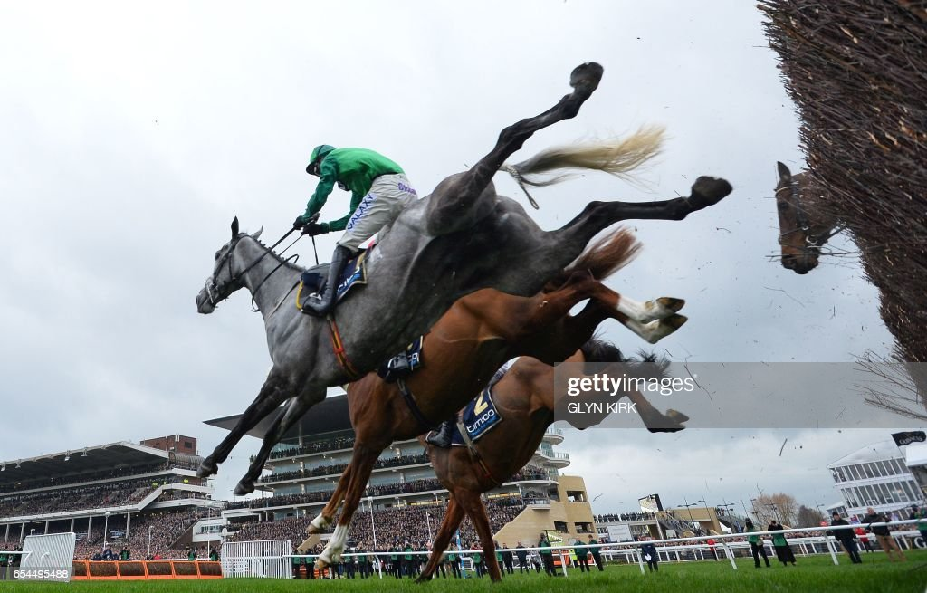 TOPSHOT - 'Bristol de Mai' ridden by jockey Daryl Jaccob (L) jumps a hurdle during the Gold Cup race on the final day of the Cheltenham Festival horse racing meeting at Cheltenham Racecourse in Gloucestershire, south-west England, on March 17, 2017. Irish trainer Jessica Harrington won the Cheltenham Gold Cup with her first ever runner Sizing John on Friday to become the most successful female trainer in Festival history. / AFP PHOTO / Glyn KIRK