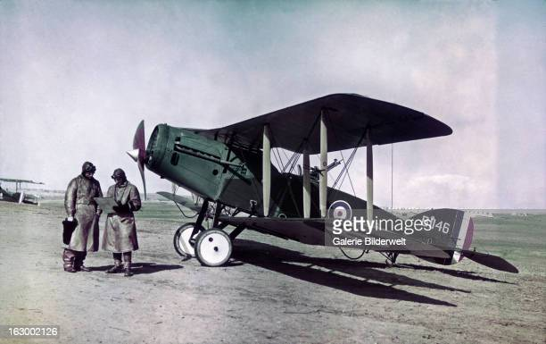 A Bristol F2B Fighter aircraft from the No 1 Squadron of the Australian Flying Corps at El Mejdel base February 1918 The pilot is Captain Roth Smith...