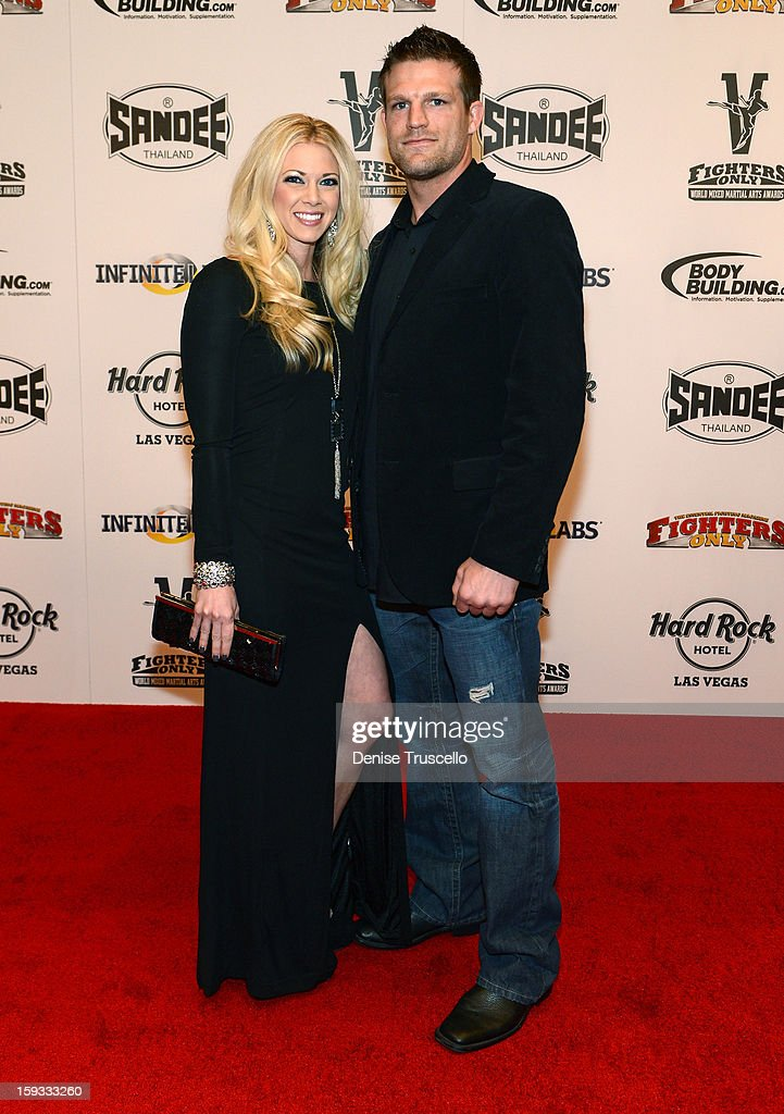 Bristol Marunde (R) and his wife, Aubrey Marunde arrive at the Fighters Only World Mixed Martial Arts Awards 2013 at the Hard Rock Hotel & Casino on January 11, 2013 in Las Vegas, Nevada.