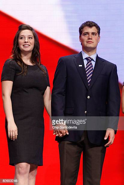 Bristol Palin and her boyfriend Levi Johnston stand on stage during day three of the Republican National Convention at the Xcel Energy Center on...