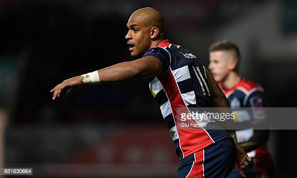 Bristol player Tom Varndell looks on during the European Rugby Challenge Cup match between Bristol Rugby and Bath Rugby at Ashton Gate on January 13...