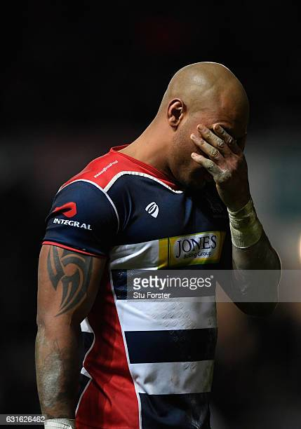 Bristol player Tom Varndell reacts after the final Bath try is scored during the European Rugby Challenge Cup match between Bristol Rugby and Bath...