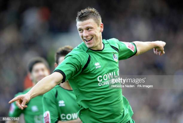 Bristol Rover's Danny Coles celebrates his goal during the FA Cup Third Round match at Craven Cottage west London