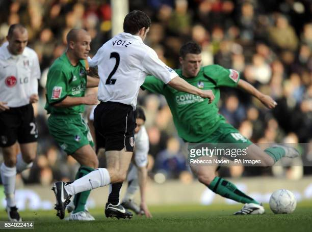 Bristol Rover's Danny Coles scores during the FA Cup Third Round match at Craven Cottage west London