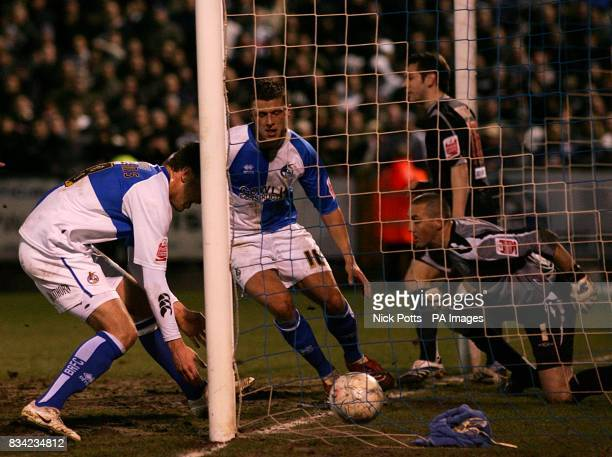 Bristol Rovers' Danny Coles scores his sides first goal of the game