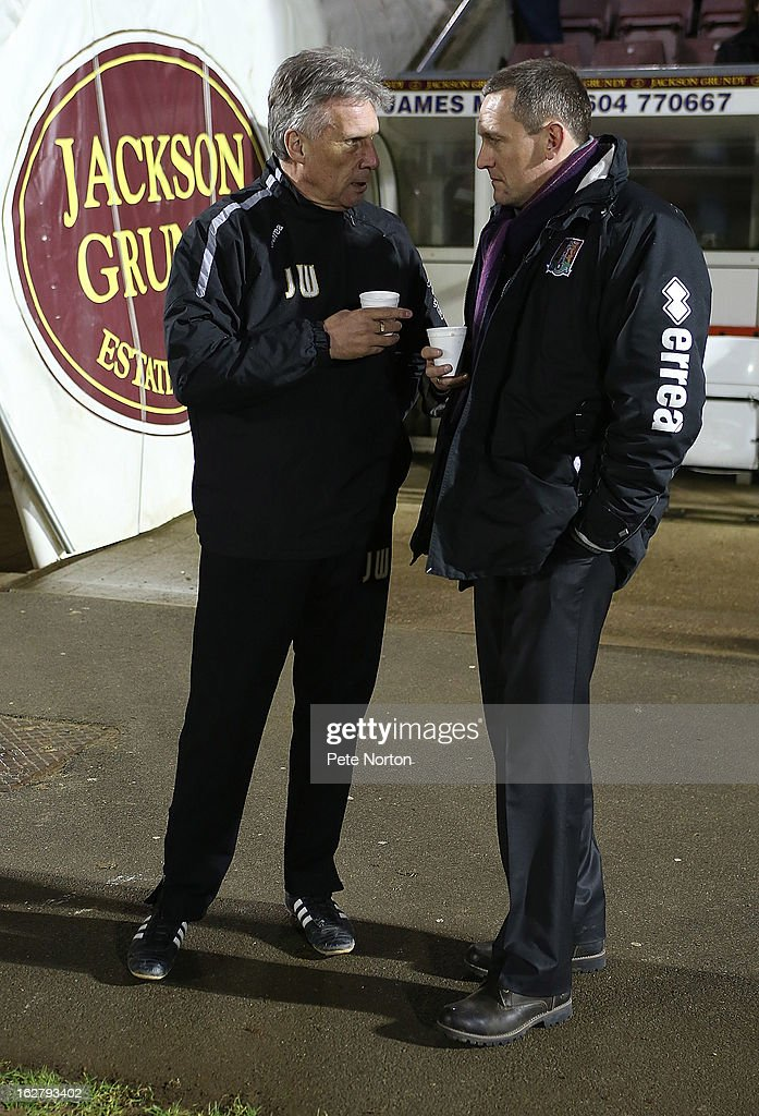 Bristol Rovers manager John Ward (L) talks to Northampton Town manager Aidy Boothroyd prior to the npower League Two match between Northampton Town and Bristol Rovers at Sixfields Stadium on February 26, 2013 in Northampton, England.