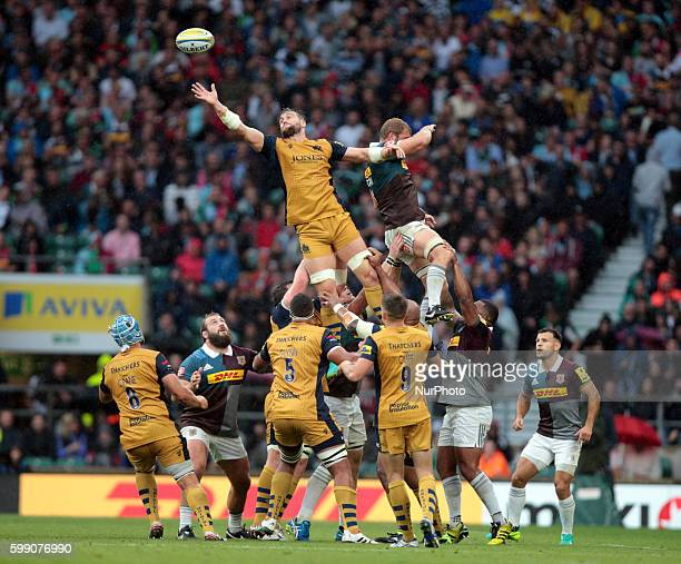 Bristol Rugby James Phillips during Aviva Premiership match between Harlequins and Bristol Rugby at Twickenham Stadium on 3rd Sept 2016 in London...
