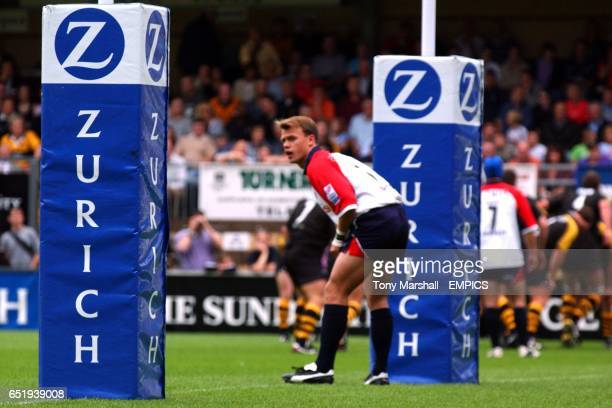 Bristol Shoguns' Phil Christophers waits in defence underneath the posts