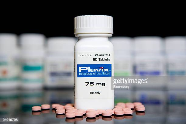 BristolMyers Squibb's Plavix is arranged for a photograph at New London Pharmacy in New York US on Tuesday April 28 2009 BristolMyers Squibb Co's...