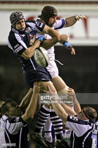 Bristol's Dan WardSmith battles with Danny Grewcock in a line out during the Guinness Premiership match at Ashton Gate Bristol