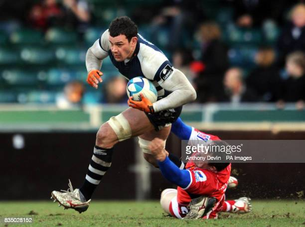 Bristol's Dan WardSmith is tackled during the European Challenge Cup match at The Memorial Stadium Bristol