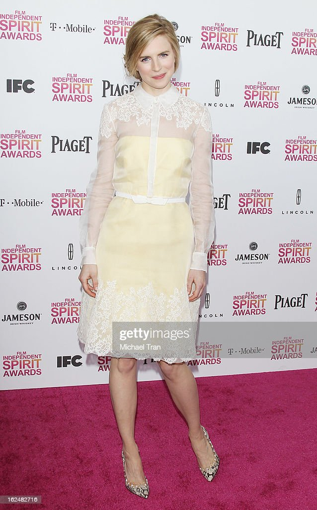 Brit Marling arrives at the 2013 Film Independent Spirit Awards held on February 23, 2013 in Santa Monica, California.