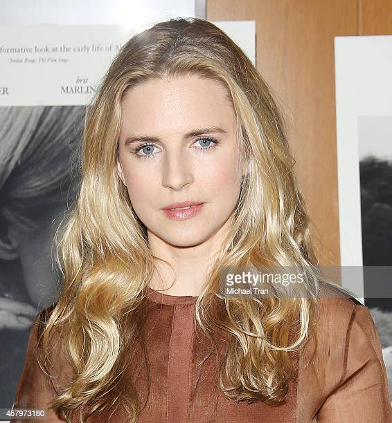 Brit Marling arrives at the Los Angeles Premiere of 'The Better Angels' held at DGA Theater on October 27 2014 in Los Angeles California