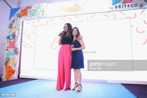 Brit Morin and Christina Bianco speak onstage as Brit Co Kicks Off Experiential PopUp #CreateGood with Allison Williams and Daphne Oz at Brit Co on...