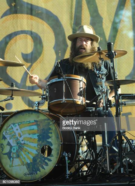 Brit Turner of Blackberry Smoke performs at the 8th Annual Rock Ribs Ridges Festival at Sussex County Fairgrounds on June 25 2017 in Augusta New...