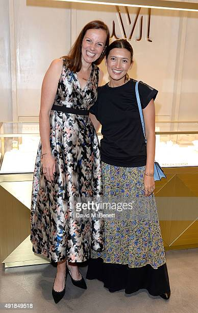 Brita Fernandez Schmidt and Hikari Yokoyama attend the Monica Vinader and Brita Fernandez Schmidt launch of the #SheInspiresMe friendship bracelet on...