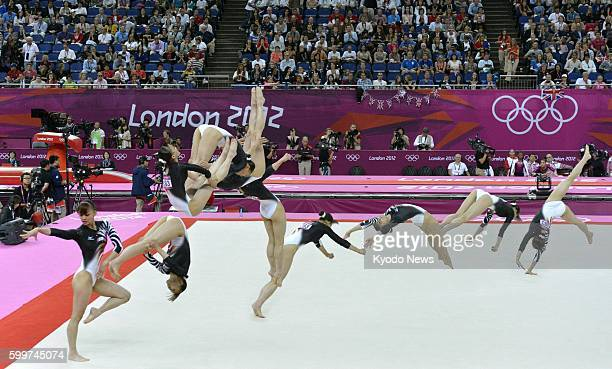 LONDON Britain Composite photo shows Japan's Rie Tanaka's sequence of a floor exercise performance during the women's gymnastics allaround final at...
