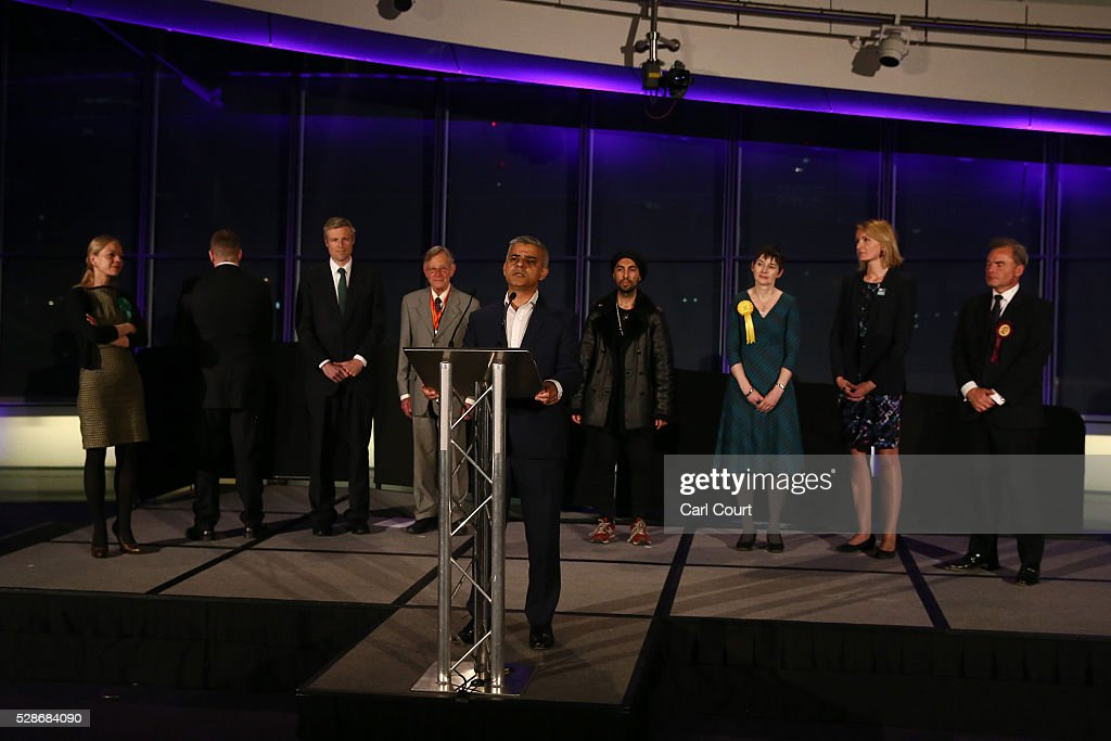 Britain First mayoral candidate, Paul Golding (1-L), turns his back as Labour mayoral candidate Sadiq Khan makes a speech after being announced as London mayor following local elections, on May 07, 2016 in London, England. After months of campaigning Mr Khan won the London mayoral race with 56.8 percent of the vote beating Conservative Party candidate Zac Goldsmith into second place.