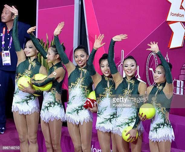 LONDON Britain Japan's Kotono Tanaka Natsuki Fukase Rie Matsubara Nina Saeedyokota Airi Hatakeyama and Rina Miura wave to the crowds after their ball...