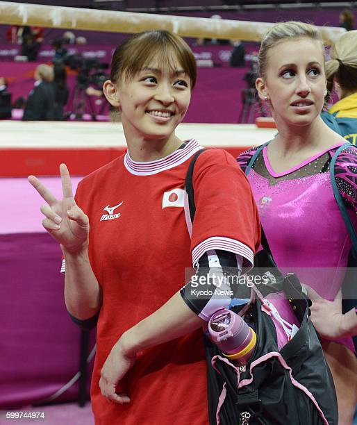 LONDON Britain Japan's Rie Tanaka leaves with a smile after finishing her performance in the women's gymnastics allaround final at North Greenwich...
